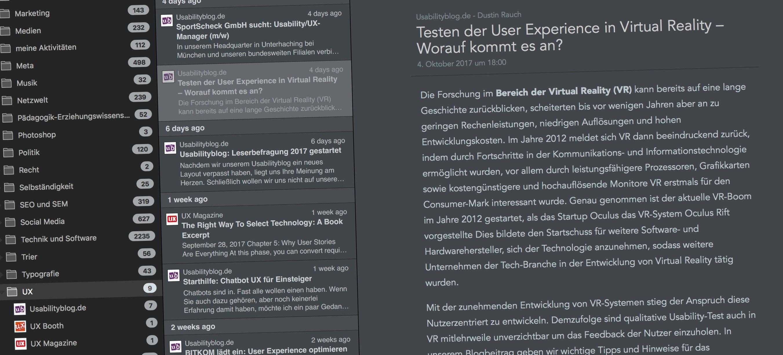 Screenshot vom Screenreader ReadKit